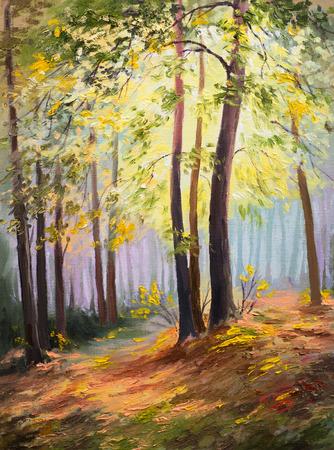 lente landschap, bomen in het bos, kleurrijke olieverfschilderij Stockfoto