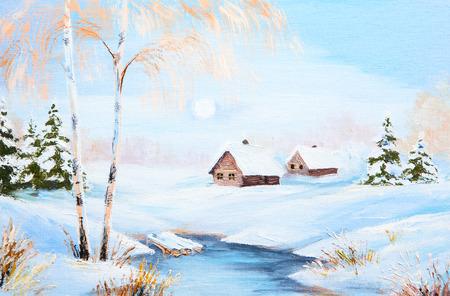 油絵冬の風景、森、色鮮やかな水彩画に川を凍結