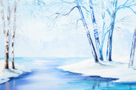 frozen lake: oil painting - winter landscape, colorful watercolor Stock Photo