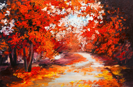 autumn landscape: Oil painting landscape - colorful autumn forest