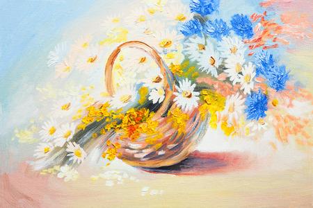 春の花のブーケを抽象的な油絵- 写真素材