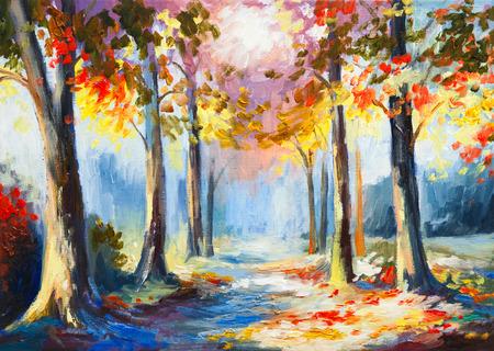 油絵 - カラフルな春の風景、森、抽象的な水彩画の道