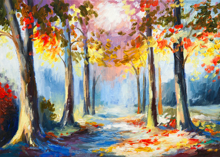 fall landscape: oil painting - colorful spring landscape, road in the forest, abstract watercolor Stock Photo
