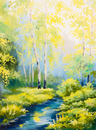 oil painting - spring landscape, river in the forest, colorful watercolor Foto de archivo