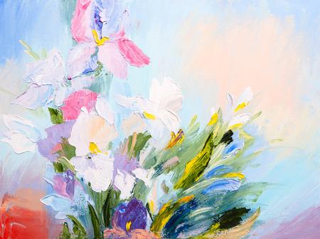 油絵 - 春の花、カラフルな水彩の抽象の花束