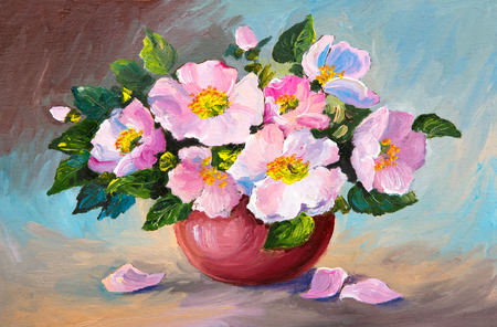 still life: Oil painting of spring pink wild roses in a vase on canvas, art work