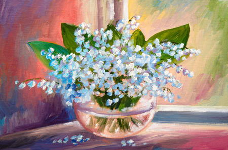 Oil painting of spring lily of the valley flowers in a vase on canvas, art work 写真素材