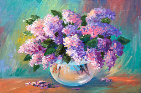 Oil painting of spring lilac  in a vase on canvas, art work photo