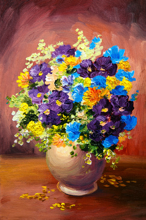 still life: Oil painting of spring multicolored flowers in a vase on canvas, art work Stock Photo