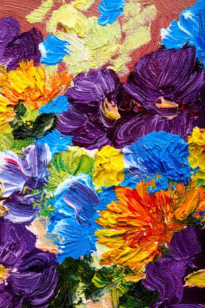 Abstract background. Oil painting - flowers Foto de archivo