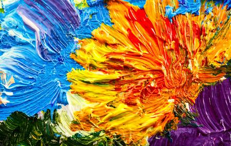 抽象的な背景。油絵・花 写真素材
