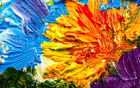 canvas painting: Abstract background. Oil painting - flowers Stock Photo