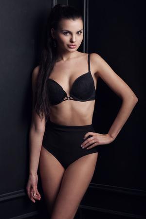 black bra: Portrait of a sexy woman in black lingerie, fashion shoot