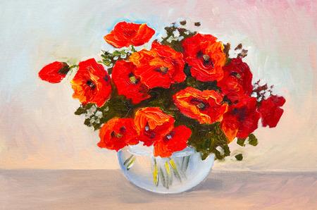 油絵静物、花瓶、カラフルな水彩のポピーの花束