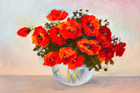 still life: Oil painting still life, a bouquet of poppies in a vase, colorful watercolor