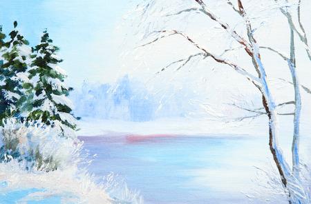 olieverf winterlandschap, bevroren rivier in het bos, kleurrijke aquarel