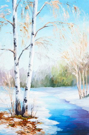 landscape painting: oil painting winter landscape, frozen river in the forest, colorful watercolor