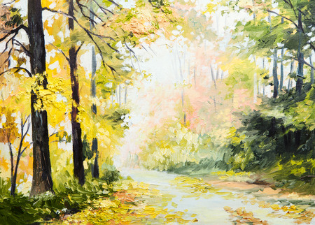 olieverf herfst landschap, over de weg in een kleurrijk bos, kunstwerk