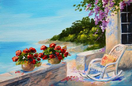 oil painting - balcony near the sea, cosiness