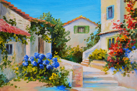 Oil painting on canvas of a beautiful houses near the sea, abstract drawing, stairs