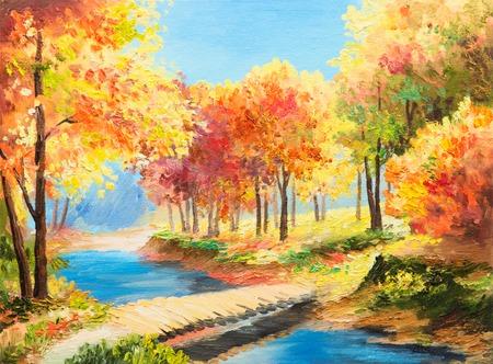 油絵の風景 - カラフルな秋の森、美しい川