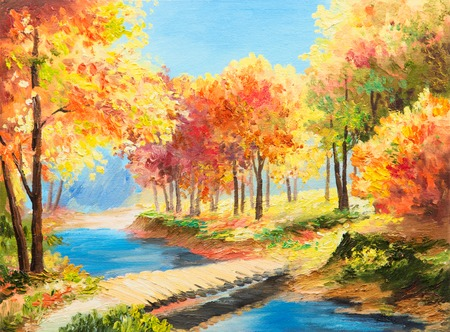 Oil painting landscape - colorful autumn forest, beautiful river