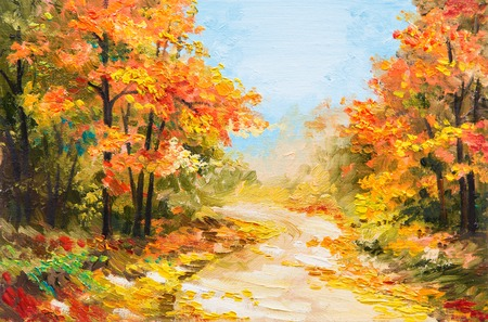 autumn landscape: oil painting - autumn forest, road in the forest
