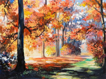 油絵風景 - カラフルな秋の森、森林の道