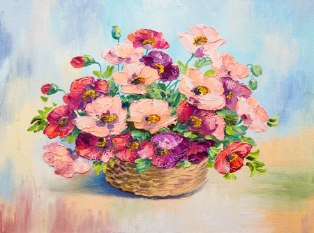 oil painting - bouquet of poppies, still life