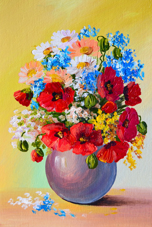 Oil Painting - still life, a bouquet of flowers, poppys, spring