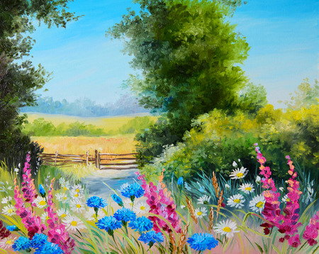 Oil Painting - field with flowers and forest abstract drawing Foto de archivo