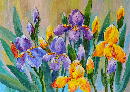Oil Painting - bouquet of flowers irises Stock Photo