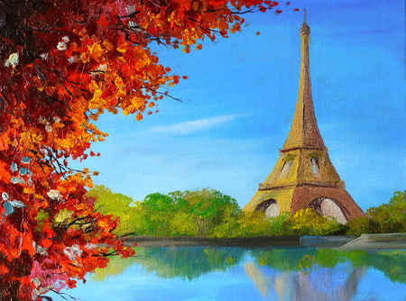 oil painting - lake near the Eiffel Tower