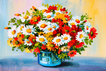 vase: Oil Painting - still life, a bouquet of flowers Stock Photo