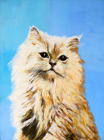 oil painting - drawing of a cat, colorful picture , abstract drawing photo