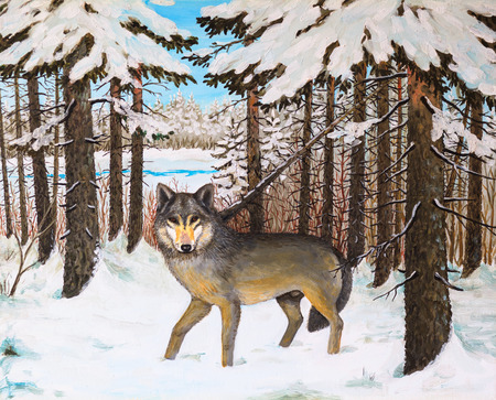 gray wolf black and white: oil painting - wolf in the pine forest, winter, colorful picture , abstract drawing