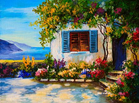 抽象的な図面、海の近くの美しい家のキャンバスに油絵 写真素材
