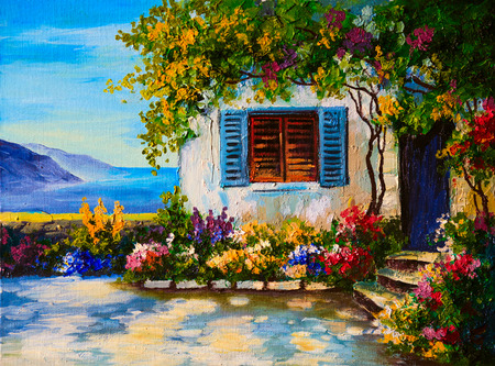 mediterranean house: Oil painting on canvas of a beautiful houses near the sea, abstract drawing