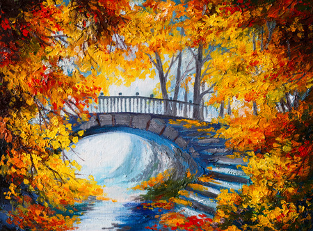 landscape painting: Oil Painting - autumn forest with a road and bridge over the road, bright red leaves
