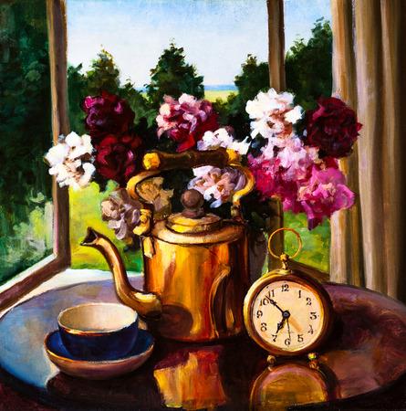 油絵・静物、花、時計、テーブルの上のやかんの花束