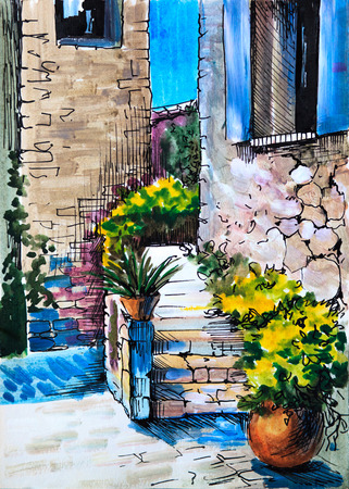 paint house: watercolor painting - flowers along the street