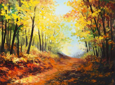 canvas painting: Oil painting landscape - colorful autumn forest
