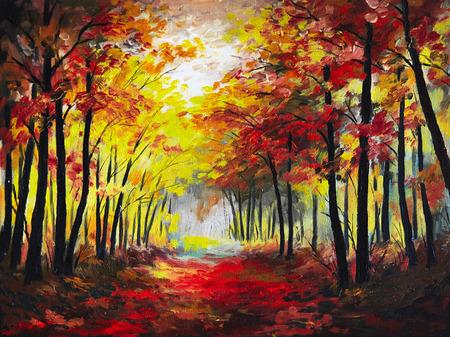 油絵の風景 - カラフルな秋の森