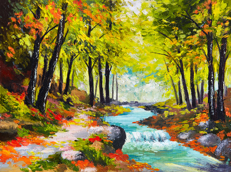 fall landscape: landscape oil painting - river in autumn forest