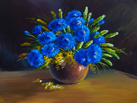 impressionism: oil painting - still life, a bouquet of flowers, wildflowers