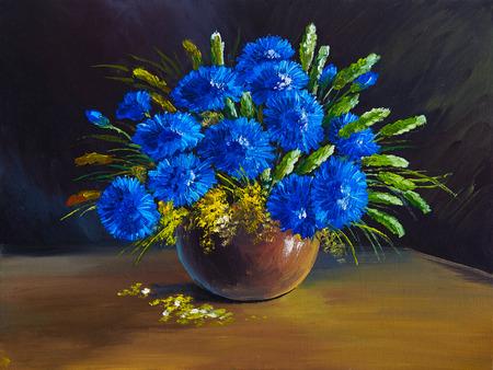 fleurs des champs: peinture � l'huile - nature morte, un bouquet de fleurs, fleurs sauvages Banque d'images