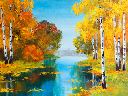 green river: oil painting landscape - birch forest near the river Stock Photo