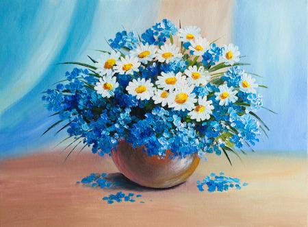 油絵・静物、花の花束 写真素材 - 38223004