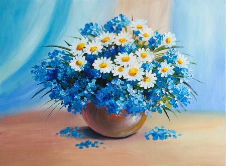sun oil: Oil Painting - still life, a bouquet of flowers Stock Photo