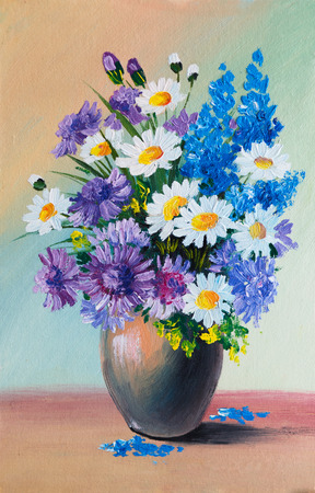colorful still life: Oil Painting - still life, a bouquet of flowers Stock Photo